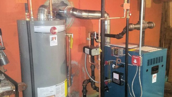 hot water tank and boiler
