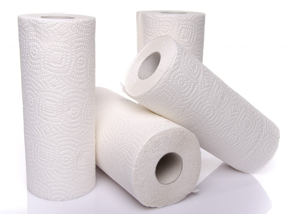 Photo of 4 rolls of paper towels
